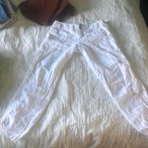 Linen white cropped summer pants